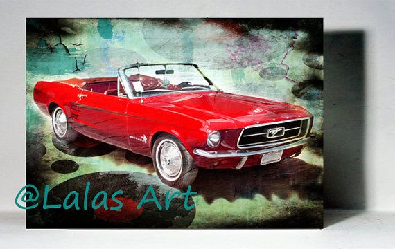 Vintage Retro Style Art Old-timer 1967 Red Ford by LalasArtWorld