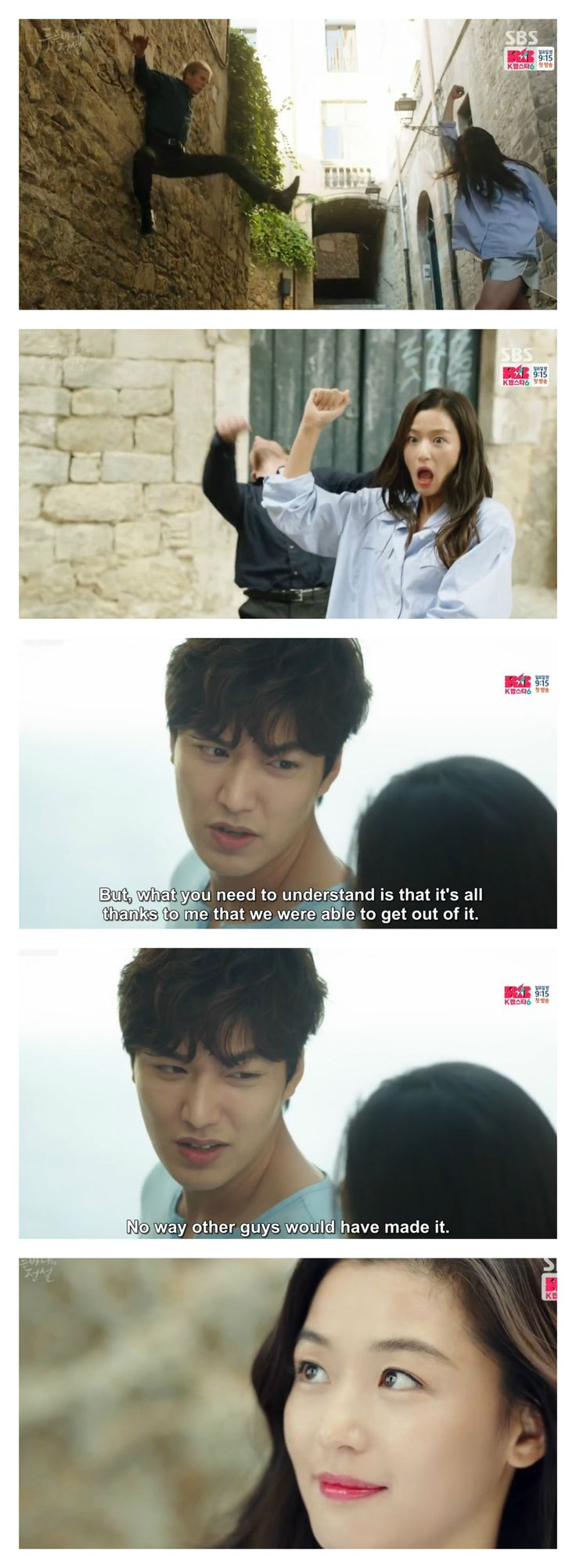 Hahaha... This scene! Joon Jae thinks his swiftness got them out of trouble when in reality the Miss Mermaid has been doing all the fighting for him. He barely hits three men while she single-handedly tackles a huge group of goons.   Lee Min Ho is so adorable in this scene and Jun Ji Hyun is a crazy mermaid.    The Legend of the Blue Sea episode 2.  Courtesy: Kissasian.com