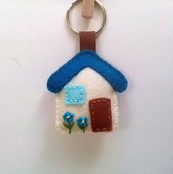 Felt House keychain - small house keychain, plush house charm keyring / white blue yellow red choice of color