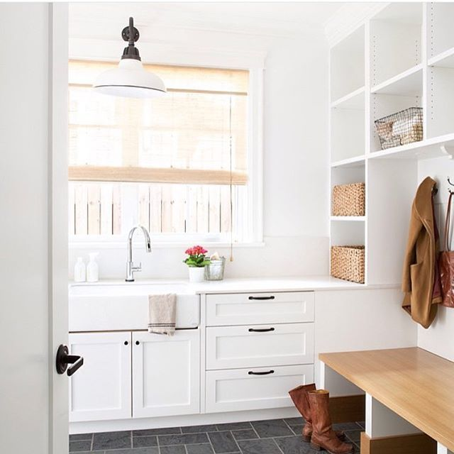 Mud room love the floors the apron front sink that wall for Mudroom sink ideas