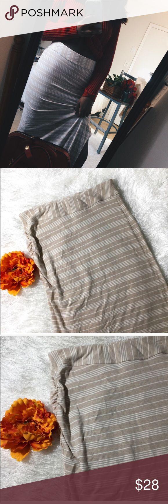 {Athleta} Khaki and White Striped Maxi Skirt Pretty athleta Khaki and white striped maxi skirt with slit. Size Medium!  {Athleta} Khaki and White Striped Maxi Skirt Athleta Skirts Maxi