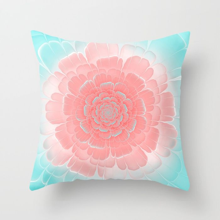 Romantic aqua and pink flower, digital abstracts Throw Pillow #OksanaAriskina #Artworks #HomeDecor #FineArtPrints #FineArtAbstract #Fractal #Abstract #ArtForSale #Blue #Pink #Peach #Coral #Flower #society6 #society6art