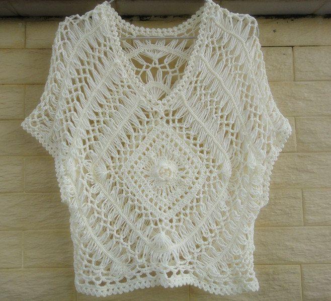 hairpin crochet women boho top lace blouse by Tinacrochetstudio, $35.00