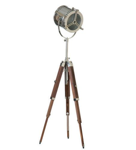 NAUTICAL ELECTRIC FLOOR SEARCHLIGHT WITH BLACK WOOD TRIPOD STAND SPOTLIGHT LAMP #Searchlight #Nautical