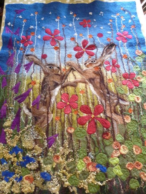 MarmaladeRose: Boxing Hares, hand felted painting.