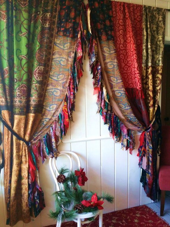 boho Gypsy christmas Curtains Drapes Hippie Luxe Hippy holiday Bohemian chic paisley scarf Wall Decor Window patchwork fringe Bedroom – Pepi
