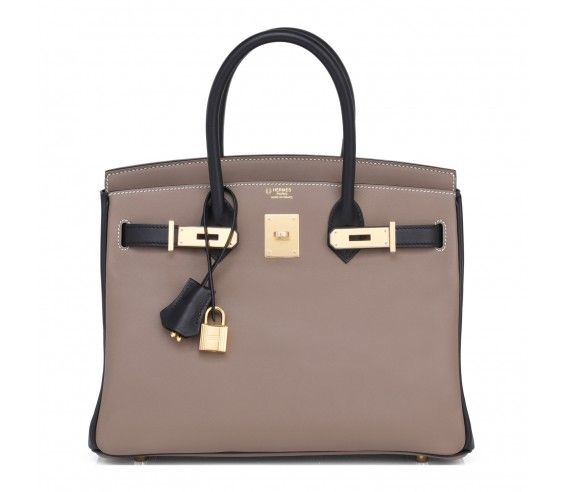 Hermes HSS Etoupe and Black 30cm Swift Birkin Gold Hardware Horseshoe