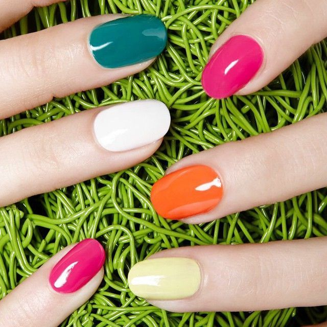 The Only Spring Nail Trends You Need #refinery29  http://www.refinery29.com/2015/04/84843/jin-soon-choi-nail-polish-interview#slide-5  Hello, brights! Why not wear all five of the collaboration's new colors?