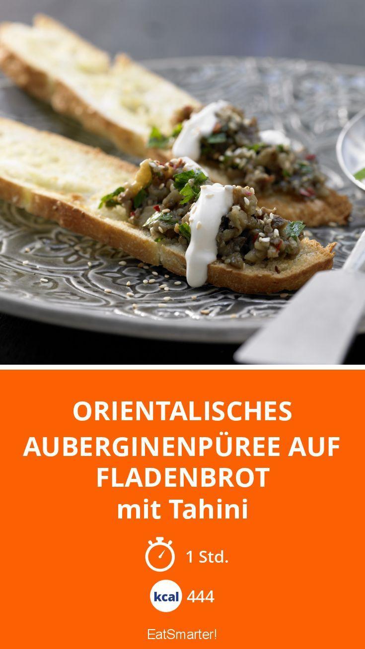 Orientalisches Auberginenpüree auf Fladenbrot - mit Tahini - smarter - Kalorien: 444 kcal - Zeit: 1 Std. | eatsmarter.de