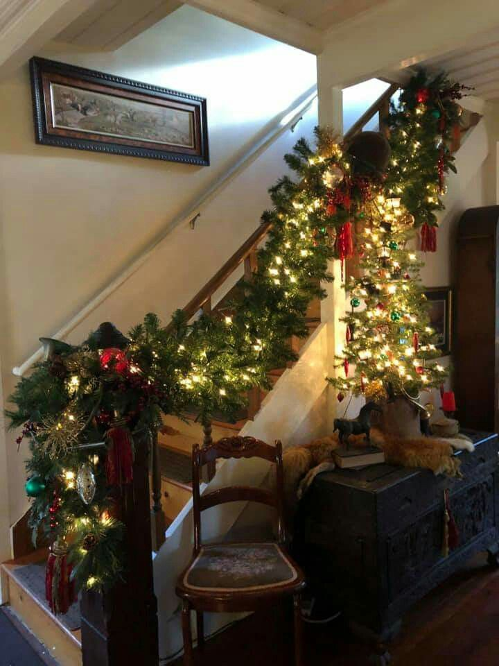 garland and table top tree in fox hunt living room at old goat farm rh pinterest com