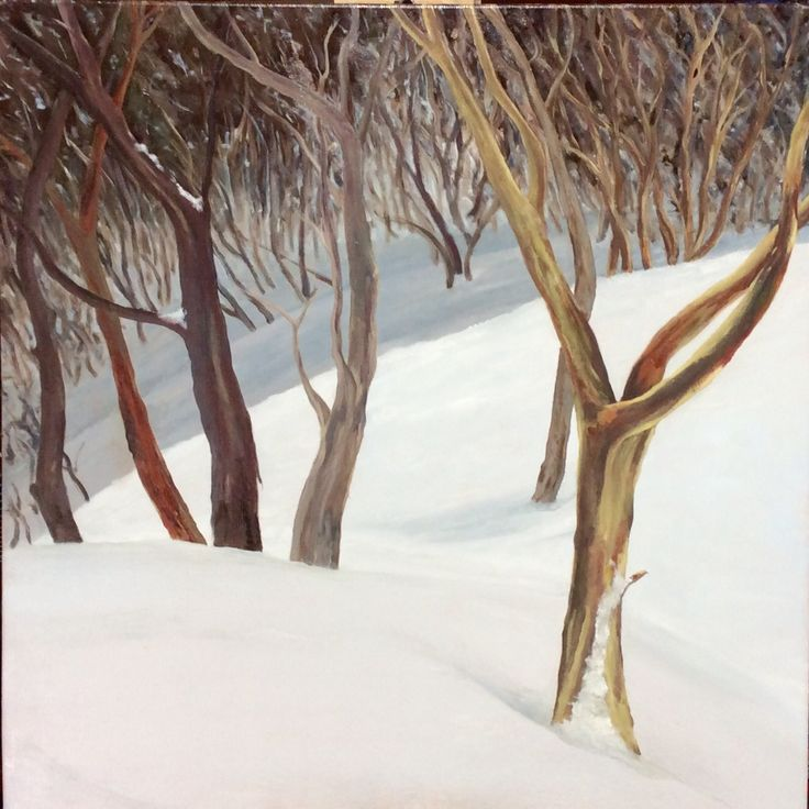 Mt Hotham snow gums. Oil on canvas.
