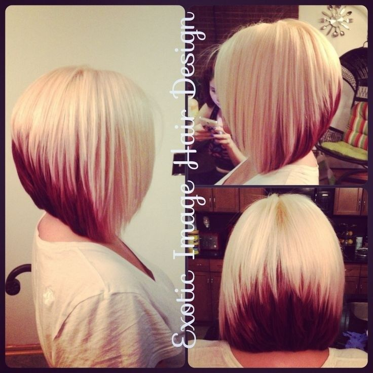 Block Coloring with Platinum Blonde & Red with Stacked Bob Cut. Exotic Image Hair Design