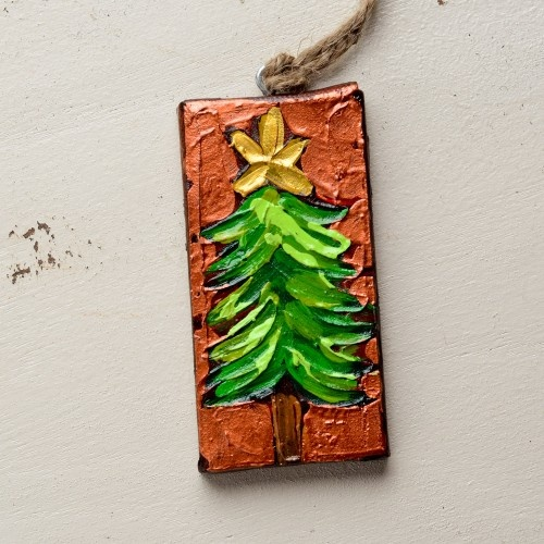 Hand painted christmas canvas ornament 13 biased for How paint on canvas