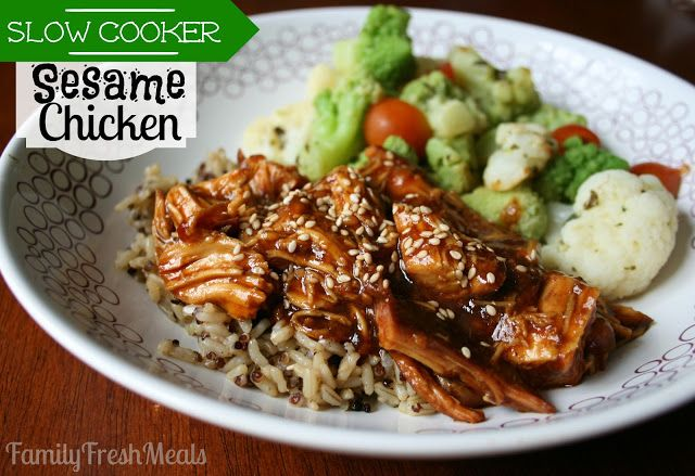 Sweet Slow Cooker Sesame Chicken Recipe (Aaron doubled the sauce/halved the brown sugar and used chicken thighs.)