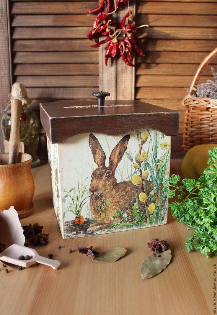 """Купить Короб для кухни """"Счастливый кролик"""" - коричневый, банки для продуктов, банки, банки для специй"""