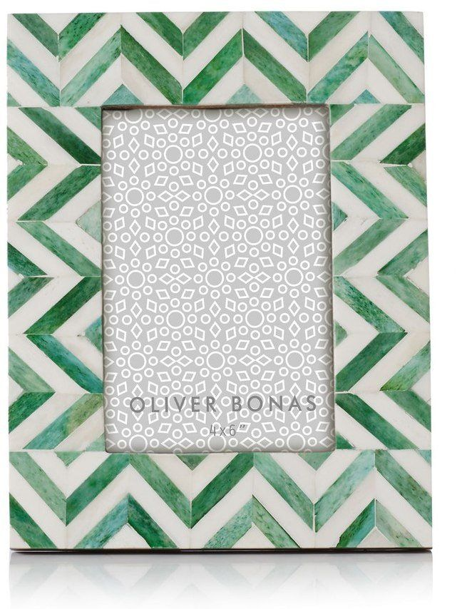 Pin for Later: Print-Lovers Simply Won't Be Able to Resist This Homeware and Decor Oliver Bonas Astrid Chevron Green Photo Frame Oliver Bonas Astrid Chevron Green Photo Frame (£16)