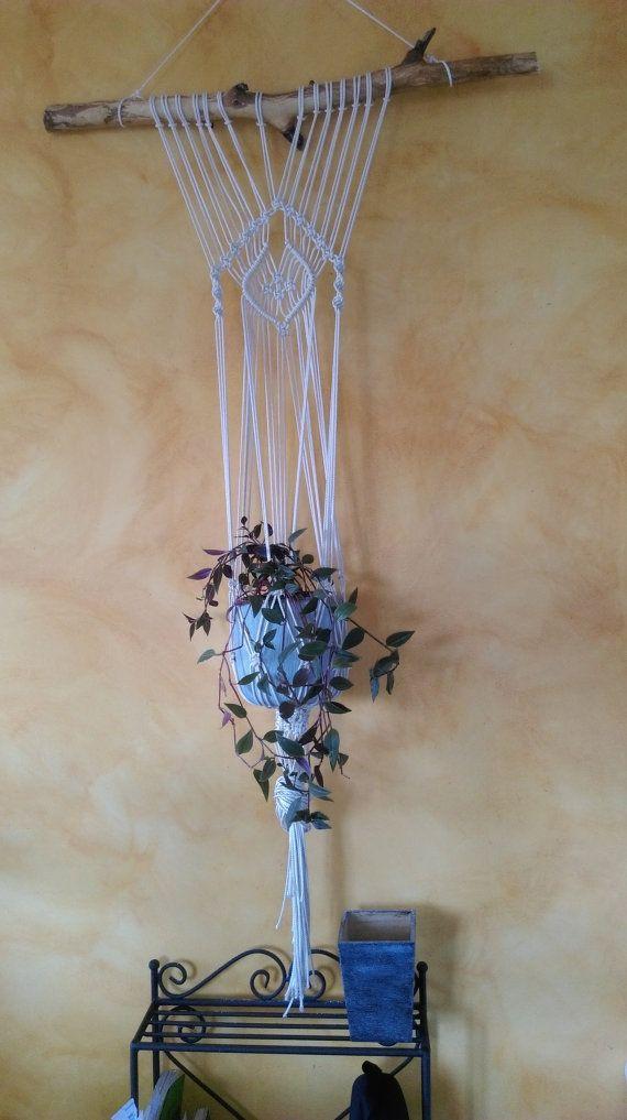 objets de d coration d int rieur suspension murale pour plante en macram fait main avec corde. Black Bedroom Furniture Sets. Home Design Ideas