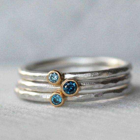 Tiny Blue Diamond Blue Zircon Ring Set – 18k Gold and Silver Stack Rings – Set of 3 Diamond and Zircon Stack Rings – Eco-Friendly Recycled