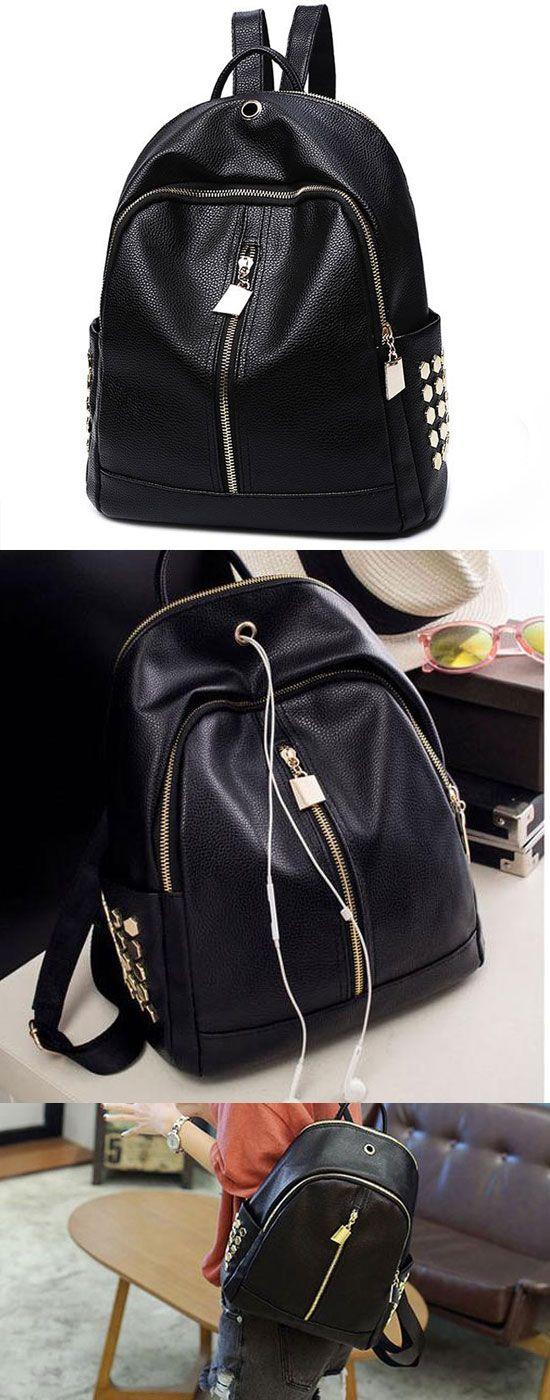 New Punk Black PU Lichee Pattern Rivet Zipper Headphone Hole College Backpack for big sale! #rivet #new #punk #black #zipper #backpack #bag #college