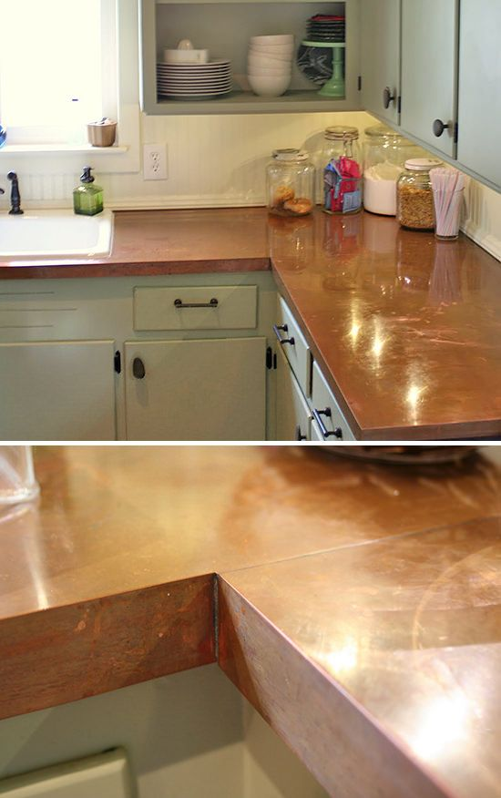 diy-counter-tops-44.   LC: DIY copper counter top, can you imagine?!? Our friends would come over just to stare at them. I've always had a case of copper love. Follow the think to the tutorial.