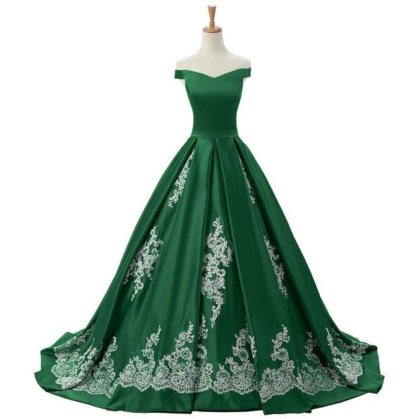 Sunvary 2016 Cap Sleeves Ball Gown Appliques Quinceanera Prom Dresses... ($220) ❤ liked on Polyvore featuring dresses, gowns, applique gown, cap sleeve ball gown, applique dress, reception gowns and green quinceanera dresses