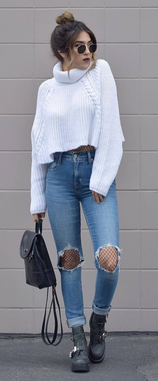 white crop knit + ripped jeans + bag + boots