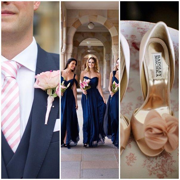 montage photo tenues de maries mariage navy pink