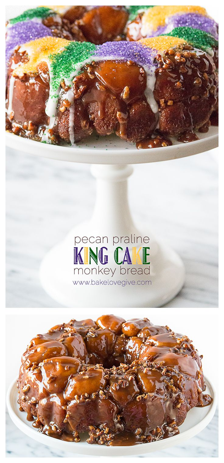 Take a few shortcuts in celebrating a delicious Mardi Gras with this Pecan Praline King Cake Monkey Bread!