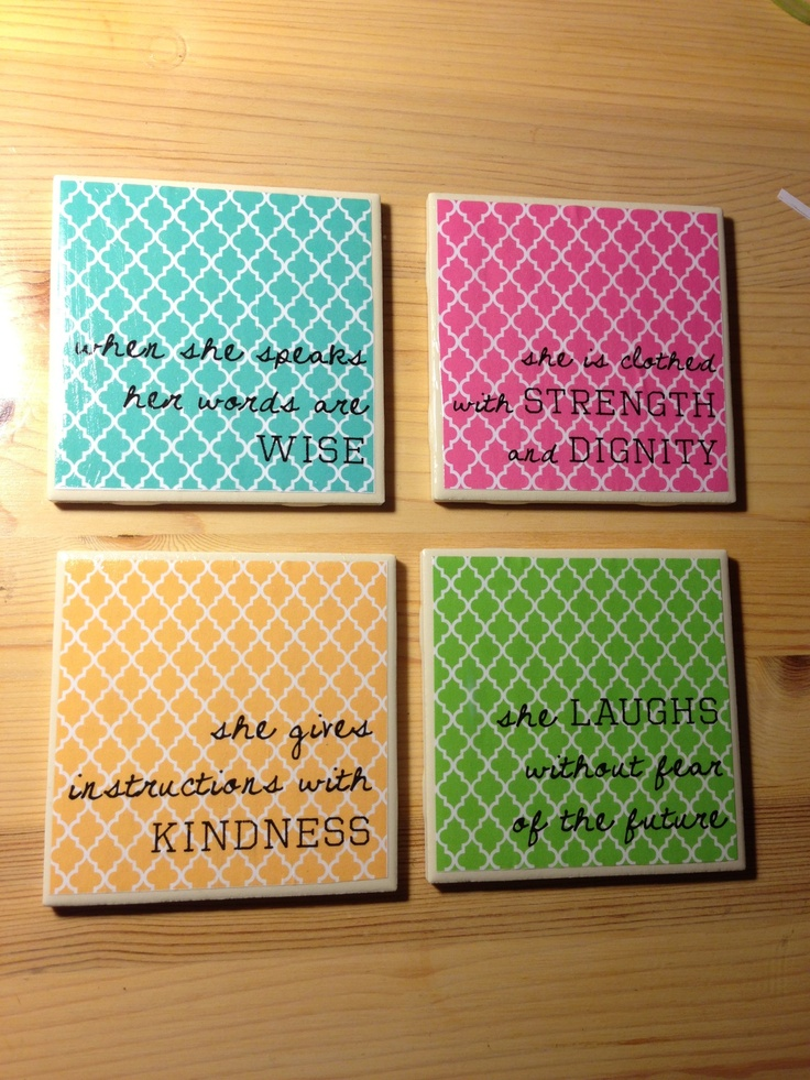 Proverbs 31 Woman coasters I am thinking on canvas by my desk