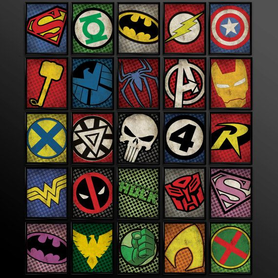 Set of 8 Superhero Kids Wall Art Decor Nursery Superman Batman Robin Comic Book Superheroes Spiderman Green Lantern Flash