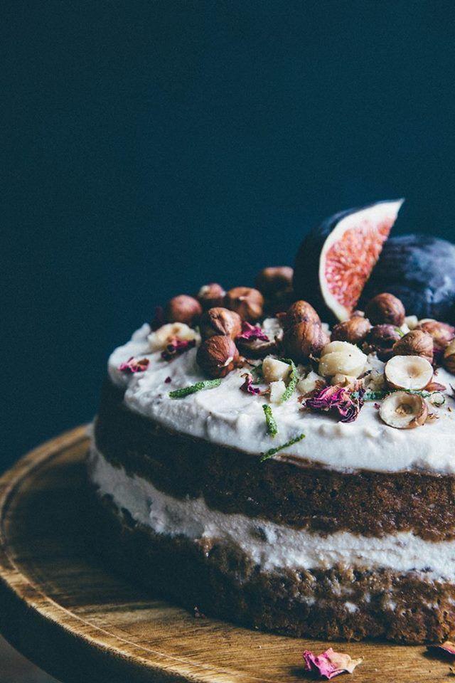 Rose, lime + chai cake w/ banana and hazelnuts .