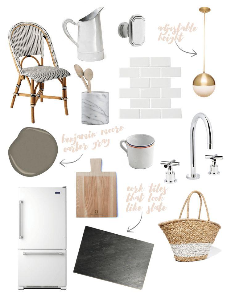 Riviera Chair // Astier de Villatte Pitcher //Cabinet Knob//Marble Canister // Subway Tile // Cedar & Moss Pendant // Benjamin Moore Carter Gray // Tricolor Tea Cup //Faucet // Refrigerator…