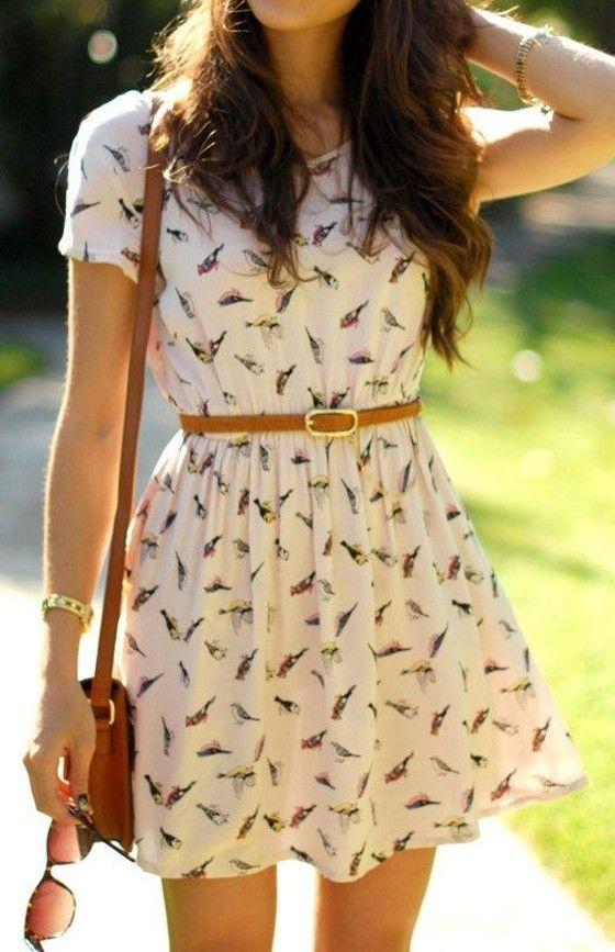 Beige Birds Print Draped High Waisted Short Sleeve Round Neck Sweet Mini Dress - Mini Dresses - Dresses