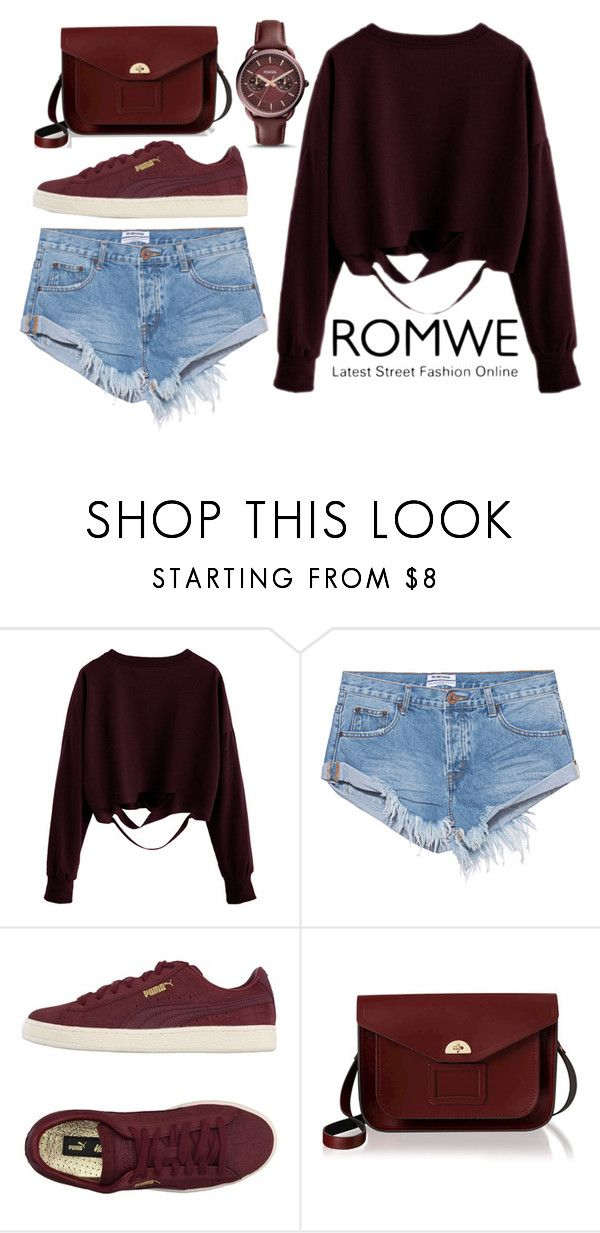 """""""ROMWE Burgundy Top - 11112016"""" by filmaandry ❤ liked on Polyvore featuring OneTeaspoon, Puma, The Cambridge Satchel Company and FOSSIL"""