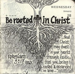More great journal art.  Be rooted in Christ.