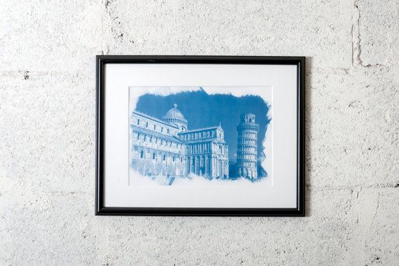 Pisa's Cathedral and tower (Italy), cyanotype print. #cyanotype #print #art #artdeco #walldeco #cottagedeco #architecture  #italy  #madeinitaly