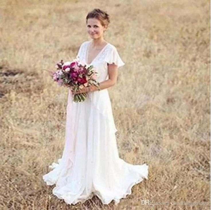 Country Western A Line Cheap Chiffon Bridal Gowns Beaded: Discount Vintage Modest Chiffon A Line Wedding Dresses