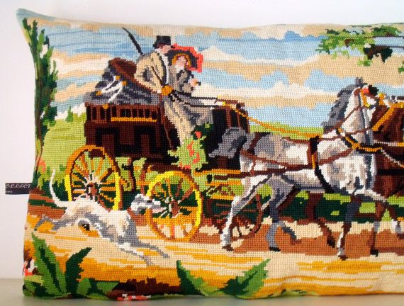 French Unique Vintage Tapestry Needlepoint Horse by Retrocollects, £35.00