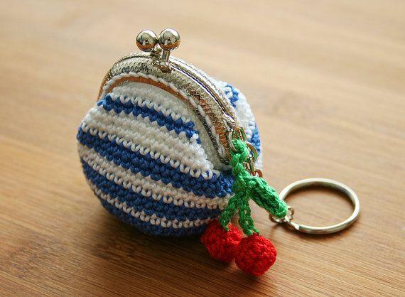 Blue Stripe Crochet Coin Purse with Keychain