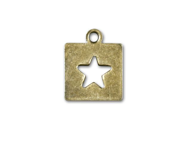 Antique Brass Star Punch Tab Charm