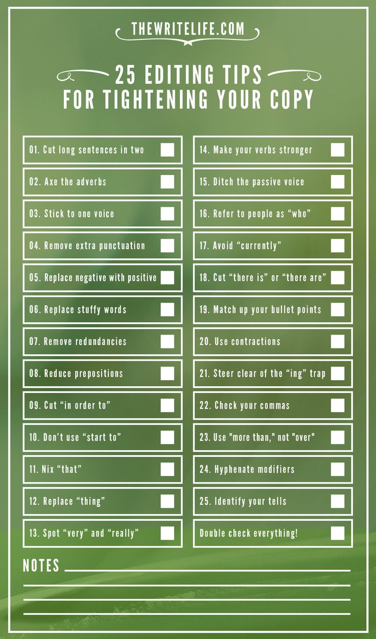 Very helpful: An Editing Checklist For Writers via The Write Life #amwriting http://writezu.com
