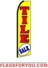Tile Sale (Yellow, Black Sleeve) Feather Flag 2.5' x 11.5'