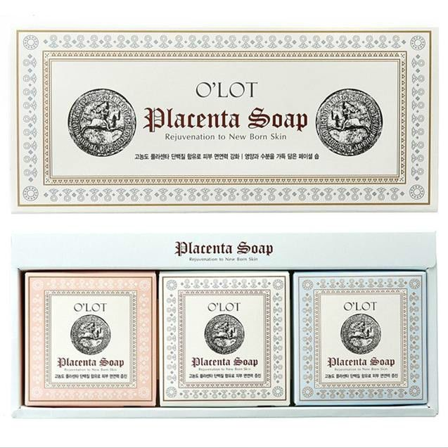 Placenta Soap 80g X 3ea Contains Pure Coconut and Horse Placenta Protein #OLOT