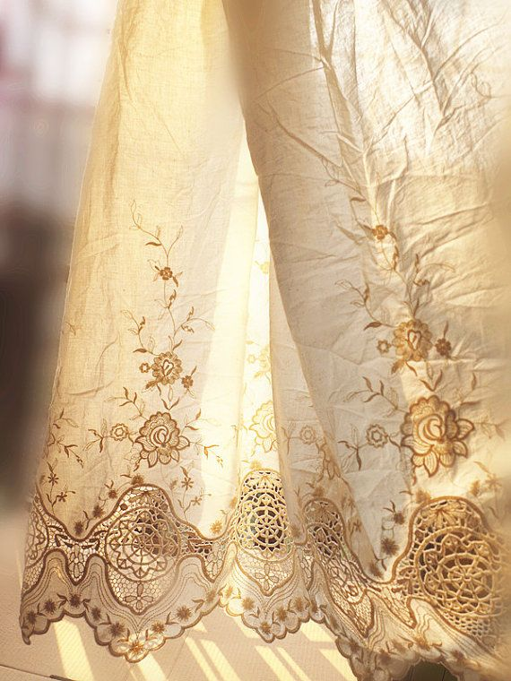 cream Lace Fabric, cotton lace fabric, vintage floral lace with embroidered floral, hollowed out patten