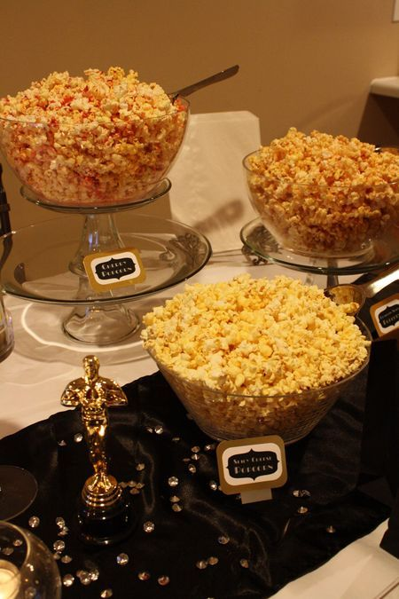 Flavoured popcorn for academy award party—definitely want to do this!
