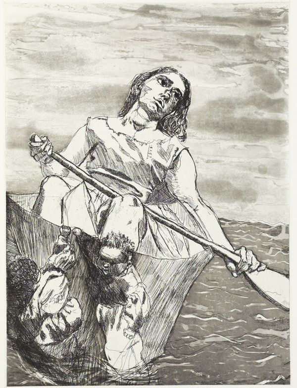 Paula Rego - Steering the Boat (etching and aquatint)