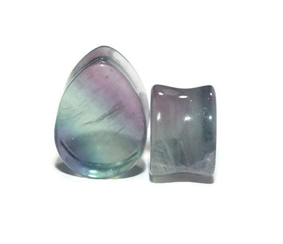 Fluorite Teardrop Plugs 2g 6mm 0g 8mm 00g 9.5mm by Intrepidjewelry