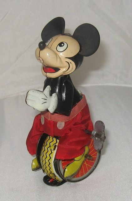 Disney Linemar Mickey Mouse Unicyclist Tin Wind Up