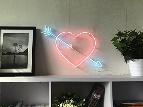 Cupid's Arrow Love Heart Real Glass Neon Sign For Bedroom Garage Bar Man Cave Room Home Decor Personalised Handmade Artwork Visual Art Dimmable Wall Lighting Includes Dimmer: Amazon.co.uk: Handmade