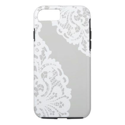 Elegant Vintage White Lace iPhone 8/7 Case - girly gift gifts ideas cyo diy special unique